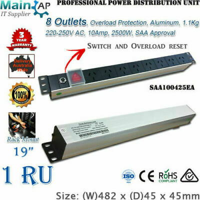 "19"" Server Rack 8 Ways Outlets Lightning Current Proof PDU Power Distribute Unit"