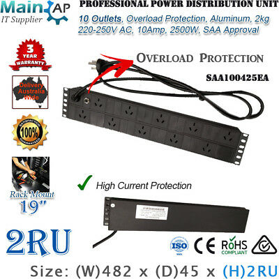 2Ru 10 Outlets 10 Way Power Distribution Server Cabinet Rack Mount Saa Approved