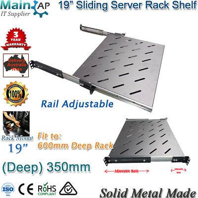 "350mm Deep Sliding Shelf For 600mm Deep 19 inch 19"" Server Computer Rack Cabinet"