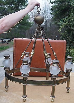 EXC Vintage Chapman Brass Oval Train Chandelier Six 6 Lights MSRP $3000+ Ceiling