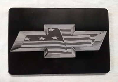 Chevy Bowtie With Flag, Billet Aluminum Hitch Cover,   3x5,  Made In USA