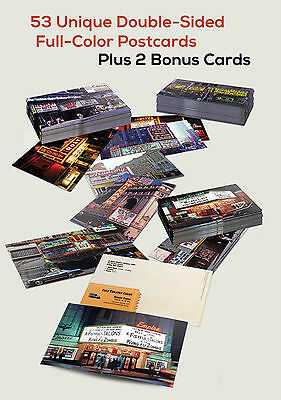 55 Postcard Lot Rare Cult Cinema Era Grindhouse Theater Marquee Photos Full Set