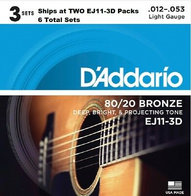 6 Sets D'Addario EJ11-3D Light Acoustic Guitar Strings 80/20 Bronze 12-53 EJ11