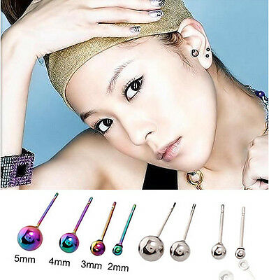1 pair Stainless Steel Smooth Ball Hypoallergenic Stud Earrings Size 2,3,4,5mm