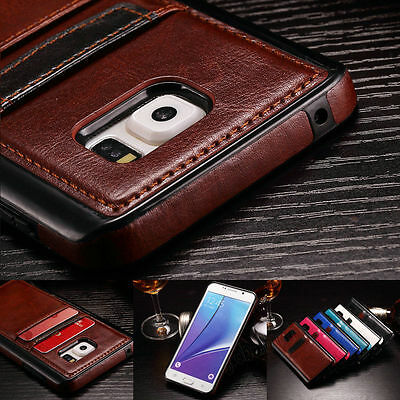 Slim Leather Wallet Card Slot Back Case Cover For Samsung Galaxy S7 Edge / S7