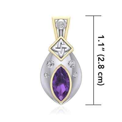 Celtic Quaternary Knot .925 Sterling Silver Pendant Choice of Gem Peter Stone