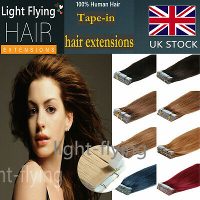 16''-24''Straight Remy Tape In Skin Human Hair Extensions 20pcs Mixed Color UK