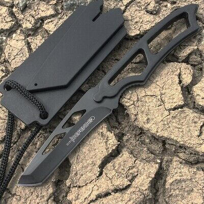 "Defender 6.5"" Full Tang Hunting Knife Stainless Steel Whistle Sheath All Black"