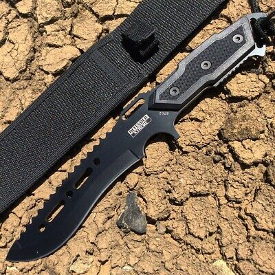 "Defender Xtreme Full Tang 12"" Black Blade Combat Ready Hunting Knife With Sheath"