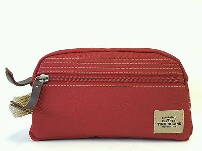 Timberland Canvas Travel Kit Shaving Dopp Toiletry Bag Patch Red NP0302-05