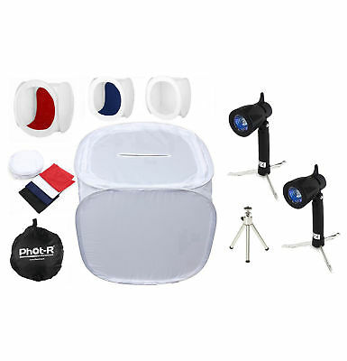 Phot-R Photo Studio Tent Soft Box Cube 30x30x30cm Kit + Light Tripod 4 Backdrops