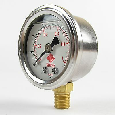 High Quality fuel pressure gauge 0-15psi for carb systems Weber Dellorto