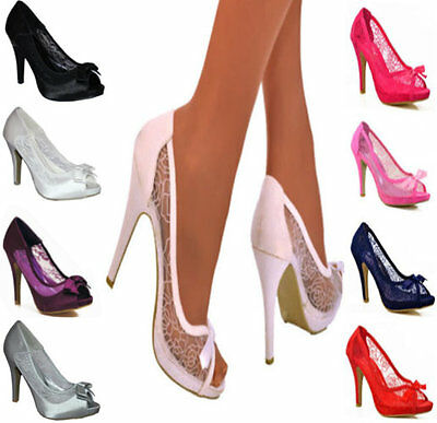 Ladies Floral Lace Embellished High Stiletto Heel Peep Toe Bow Shoes Sizes 3-8