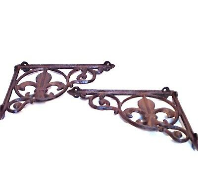 Architectural Cast Iron Shelf Brackets-Fleur-De-Lis Motif Pair New Vintage Style