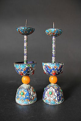 Antique Chinese Candlesticks pair w/  Cloisonne,Enamels and Amber Guangxu period