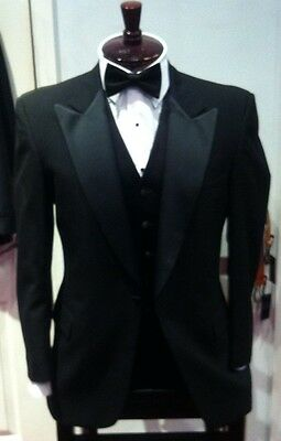 Mens Classic Vintage Black Satin Peak Lapels Tuxedo Jacket 100% Wool ford style