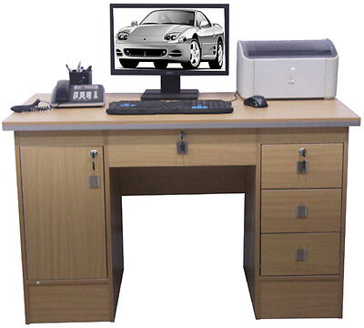 Computer Desk PC Table Home Office Furniture Workstation With Locks in Beech Clr