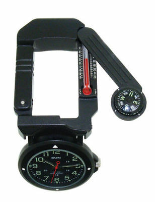 Sun Traverse Tool, Watch, Lite, Compass, Thermometer, Mirror, Carabiner, New 330