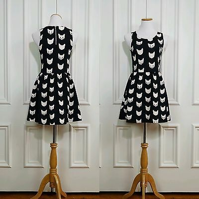 4e57c40380313 H&M Divided Cat Mini Dress Size Small S Black And White Kitty New with Tags