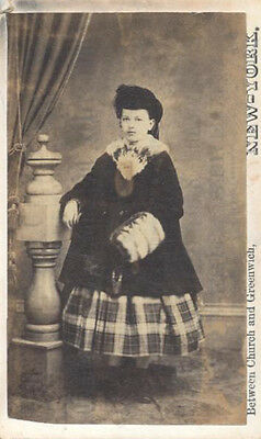 Cdv Portrait Of Woman In Very Unusual Clothing - New York City, Ny