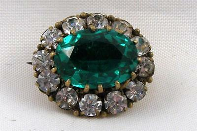 Emerald Green Small Oval Rhinestone w Crystal RS Frame C Clasp ANTIQUE VTG PIN