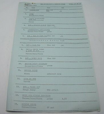GOLDEN SHOT TELEVISION SCRIPT RUNNING ORDER ATV Vintage 1970s TV Norman Vaughan