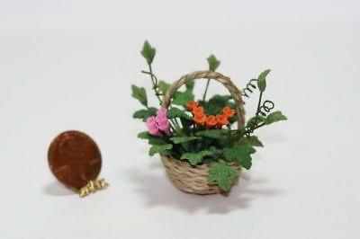 1:12 Dollhouse Miniature Camations /& Flowers in Rustic Planter BD A039
