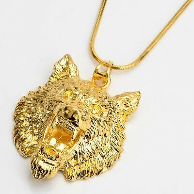 """Men's Necklace wolf Pendant 18k Yellow Gold Filled 18"""" Link Fashion Jewelry HOT"""