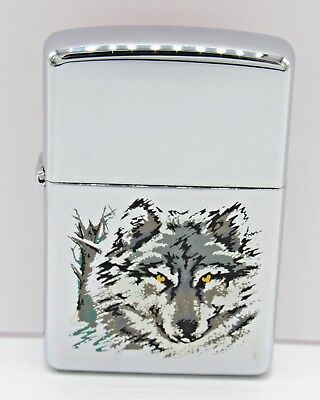 Zippo Wolf High Polish Silver Lighter 1990s Sealed Unused No Box