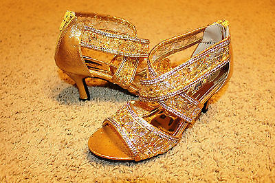 """GOLD """"CINDERELLA"""" Salsa/ Latin Dance Shoes Brand New - All Sizes Available"""