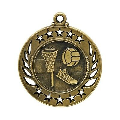 Netball Antique Gold 50mm Medal Engraved FREE