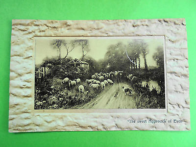 POST CARD SHEEP DOG COWS THE SWEET APPROACH OF EVEN POST DATE 1910 1d ONE PENNY