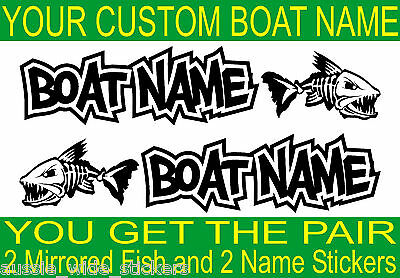 Custom Fishing BOAT NAME FISH Stickers Marine Vinyl for Tackle Box Cabin or Hull