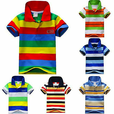 Kids Boys/Girls Casual Cotton Striped Short Sleeves Polo T.Shirt Top 2-4-6 YRS