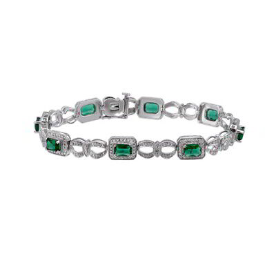 """May Birthstone Emerald And Diamond 7 1/4"""" Bracelet Sterling Silver"""
