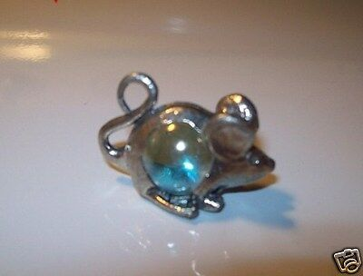 Pewter  Mouse With Glass Orb Body Figurine
