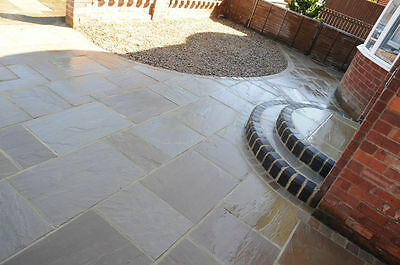 Natural Indian Sandstone Patio Paving Slabs Flags Raj Green / Autumn Brown /Grey