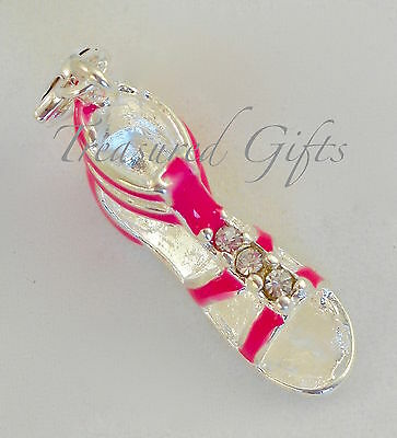 Pink & Silver Rhinestone Sandal Shoe Clip on Charm - Silver Plated