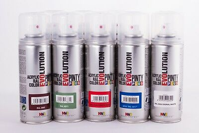 Spray Paint EVOLUTION Gloss - 200ml RAL Colours. Black White Gold Silver etc