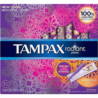 Tampax Radiant Super Plus Absorbency Unscented Tampons, 32 count