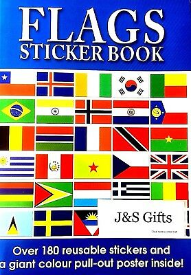 Children Kids World Country Flags Sticker Activity Book Giant Pull Out Poster
