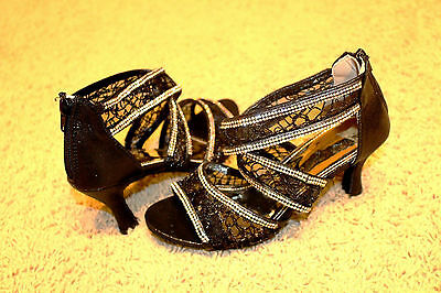 """BLACK """"CINDERELLA"""" Salsa/ Latin Dance Shoes Brand New - See Available Sizes"""