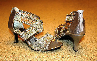 """SILVER """"CINDERELLA"""" Salsa/ Latin Dance Shoes Brand New - See Available Sizes"""