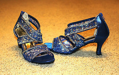 """BLUE """"CINDERELLA"""" Salsa/ Latin Dance Shoes Brand New - See Available Sizes"""