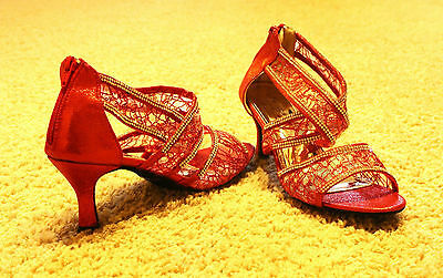 """RED """"CINDERELLA"""" Salsa/ Latin Dance Shoes Brand New - See Available Sizes"""