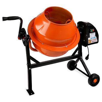 EBERTH 65L Electric concrete mixer cement plaster mortar machine stand wheels