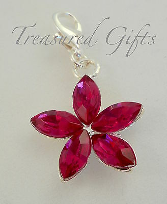 Pink Rhinestone Flower  Clip on Charm - Silver Plated