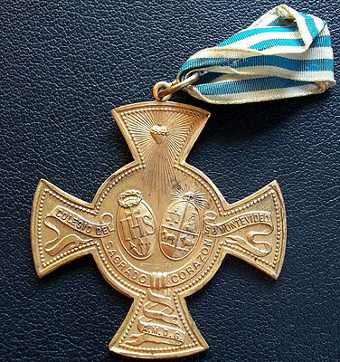 Uruguay Antique C1900´s Cross Medal To Excellence Sacred Heart School Massive