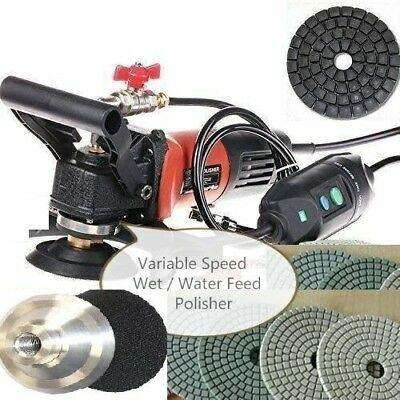 "5"" Variable Speed Concrete Cement Wet Polisher Grinder Diamond Pad Granite stone"