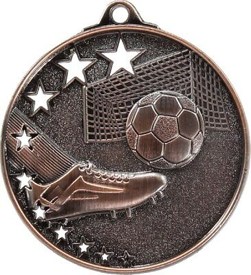 Soccer / Football Medal Bronze 50mm With Neck Ribbon Engraved FREE